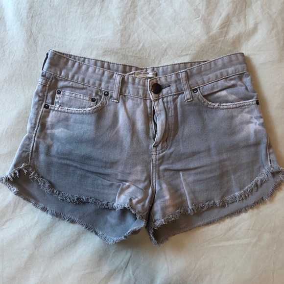 Free People Olive Denim Cut-Offs, 26
